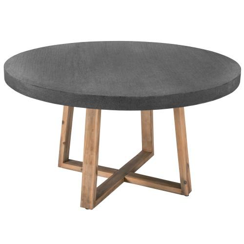 table ronde plateau en lavastone gris 140 cm 6 7 personnes