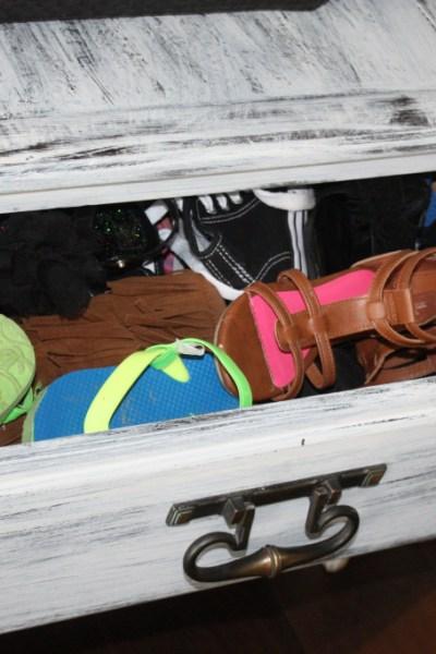 Shoe storage sage, drawer with lots of shoe storage