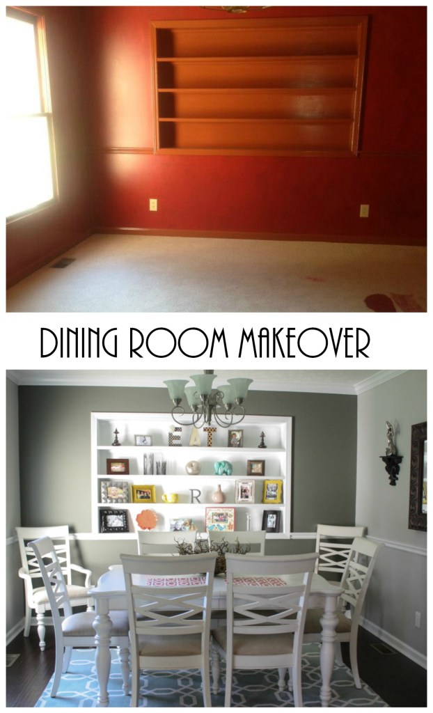 dining room with decorated shelves