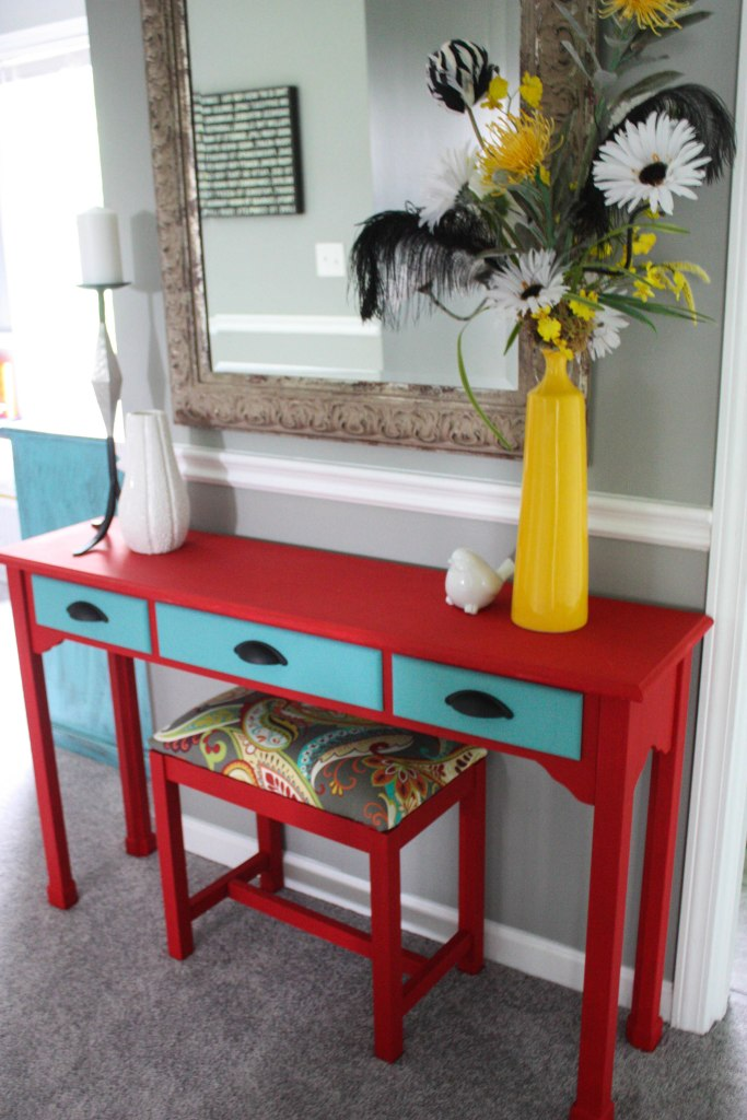 Chalk painted console table and upholstered bench