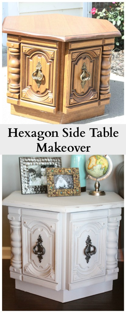 This hexagon side table got an amazing transformation with chalky paint and rustoleum spray paint! The results are amazing!