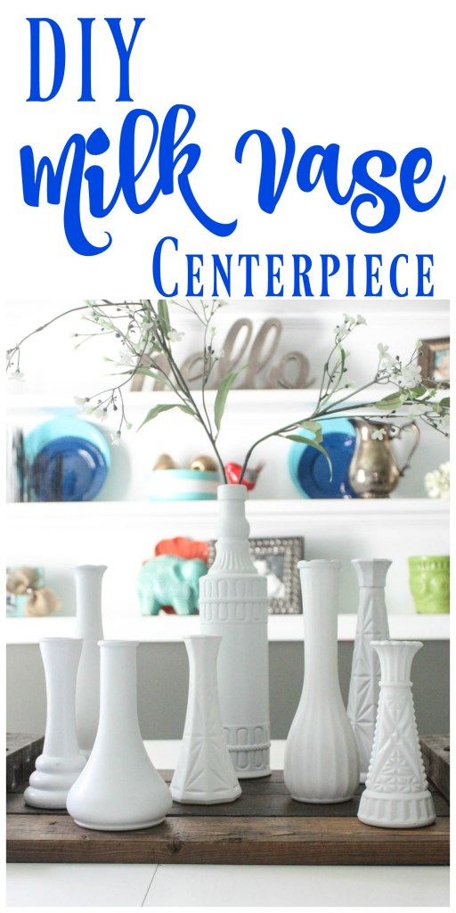Make this fun and simple DIY Milk Vase Centerpiece using random thrift store vases and spray paint! This whole display was under $5! Definitely a must pin!