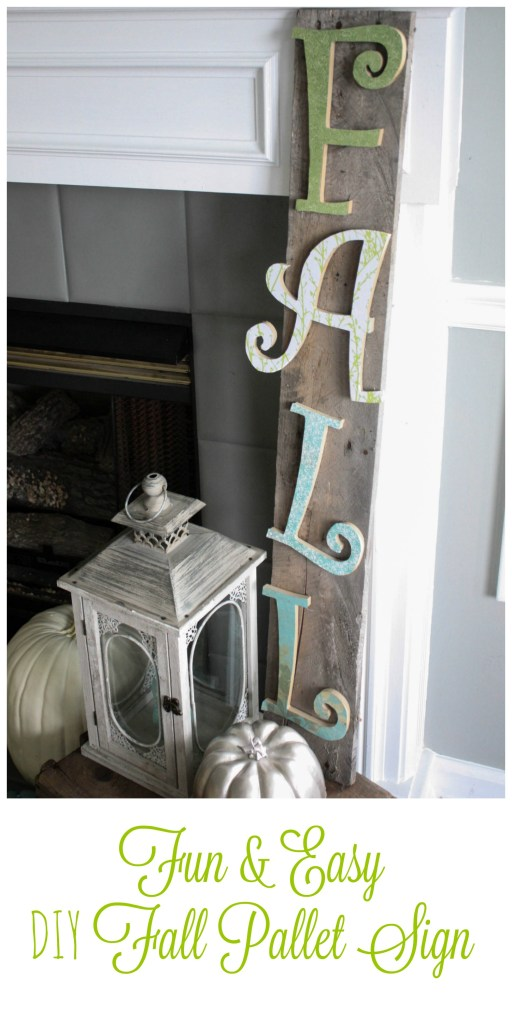 Easy DIY Fall Pallet Sign Tutorial. This is a great sign that gives height, with a bit of a whimsical look. Perfect for any fall decorating style!