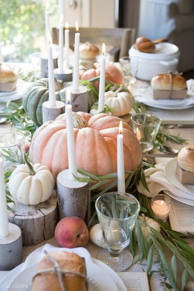 Neutral Fall and Thanksgiving Tablescape