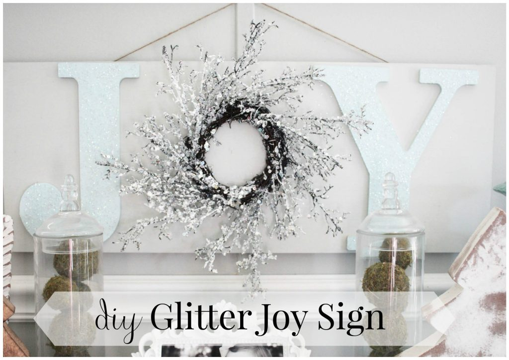This Fun and Easy DIY Glitter Joy sign is perfect for the Christmas season! Check it out for the full tutorial!