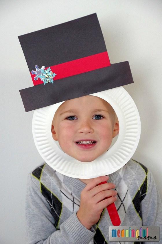Snowman Paper Plate Mask