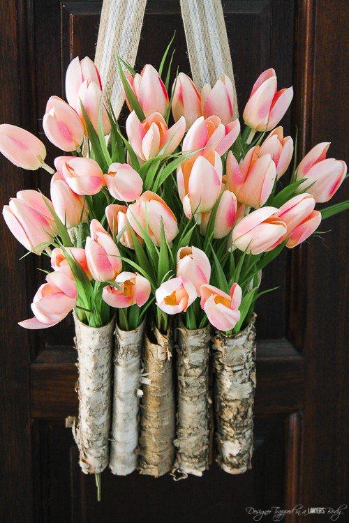 DIY Tulip Wreath in Birch Vase