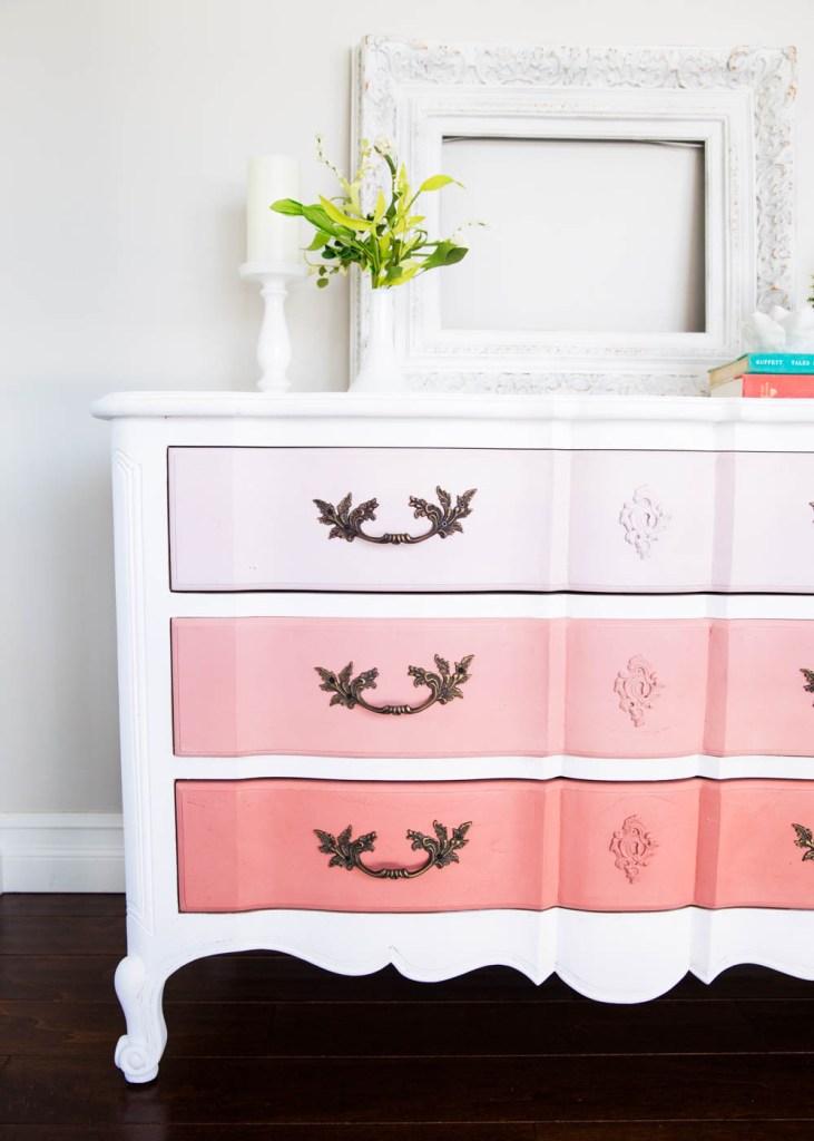 Pink Ombre Dresser Makeover
