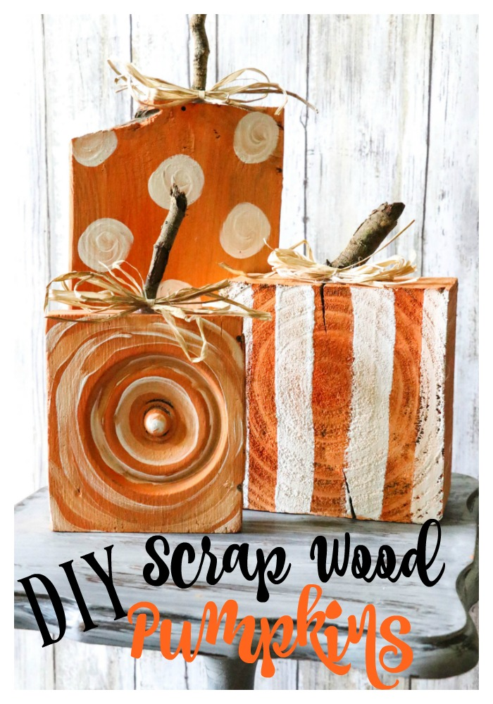 Fun and Easy DIY Scrap Wood Pumpkins! The little stems are simply sticks from the yard, and the wood is scraps found on the ground or leftover from previous projects! Check it out! Definitely a must pin for Fall!