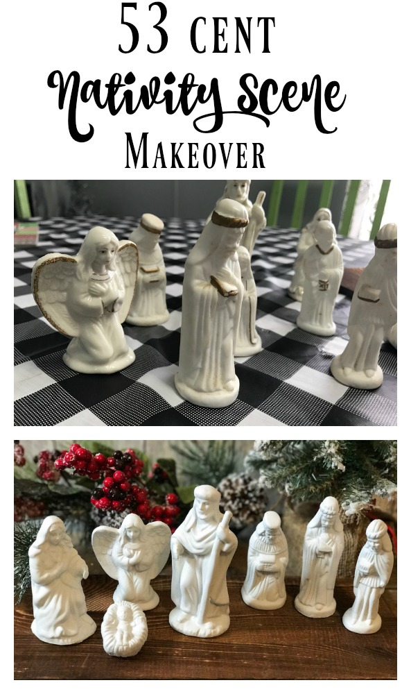53 cent Thrifted Nativity Scene Makeover!