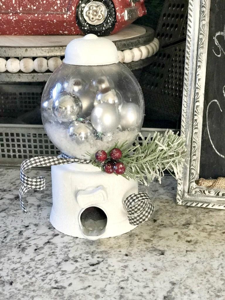 DIY Dollar Tree Snow Globe from a Gumball Machine!