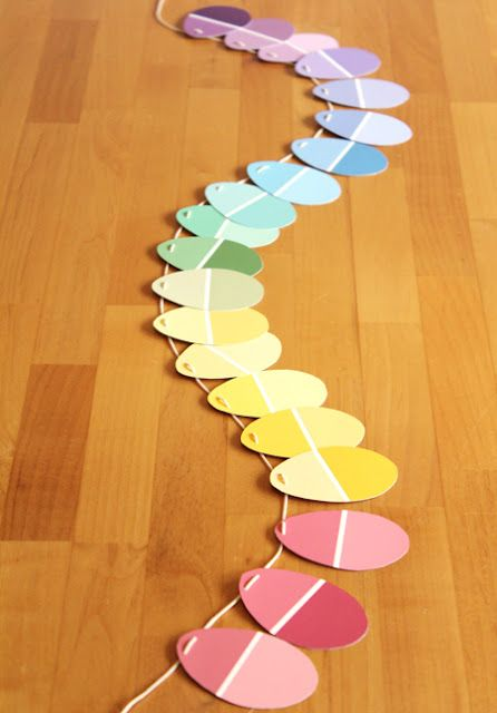 DIY Paint Chip Egg Garland