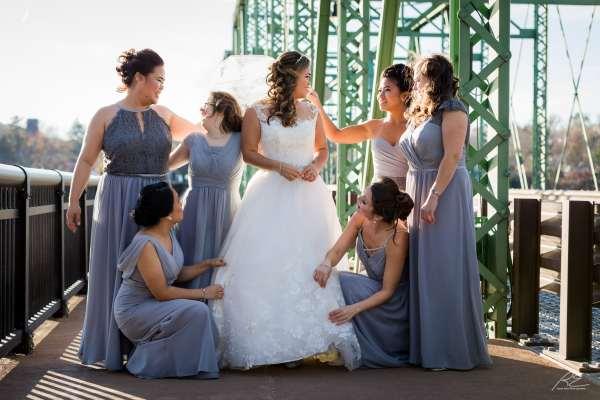 Bridesmaids at Lambertville Inn Station Bridge