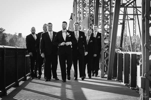 Groomsmen at Lambertville Inn Station Bridge