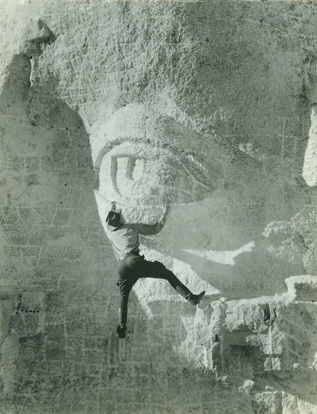 Carving Eye On Mount Rushmore, 1930s.