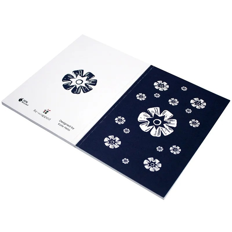 Re-wrapped: ECO Friendly Notebooks Woodblock Flowers Bold by Kate Heiss made from 100% Unbleached Recycled Paper