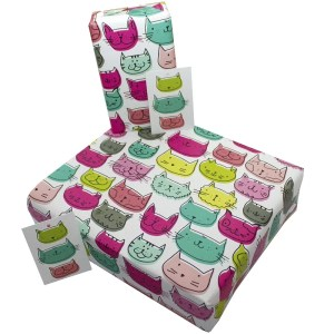 Re-wrapped: ECO Friendly Wrapping Paper Cats for Children by Rosie Parkinson made from 100% Unbleached Recycled Paper