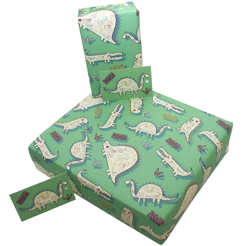 Re-wrapped: ECO Friendly Wrapping Paper Dinosaurs for Children by Rosie Parkinson made from 100% Unbleached Recycled Paper