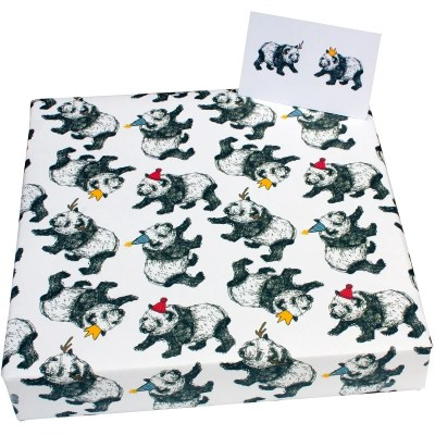Re-wrapped: ECO Friendly Xmas Wrapping Paper Christmas Panda & Hats by Emily Chapman made from 100% Unbleached Recycled Paper