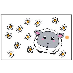 Re-wrapped: ECO Friendly Wrapping Paper Tags Childrens Sheep & Daisies by Emily Chapman made from 100% Unbleached Recycled Paper