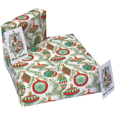 Re-wrapped: ECO Friendly Xmas Wrapping Paper Christmas Baubles White by Kate Heiss made from 100% Unbleached Recycled Paper