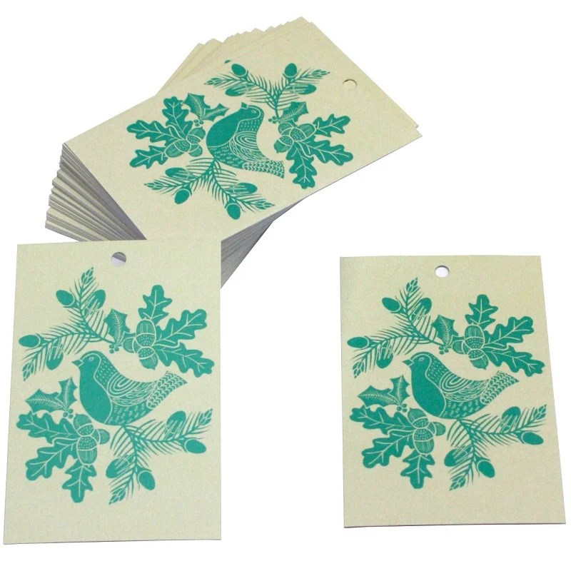 Re-wrapped: ECO Friendly Xmas Wrapping Paper Tags Christmas Folk Robins Blue by Kate Heiss made from 100% Unbleached Recycled Paper