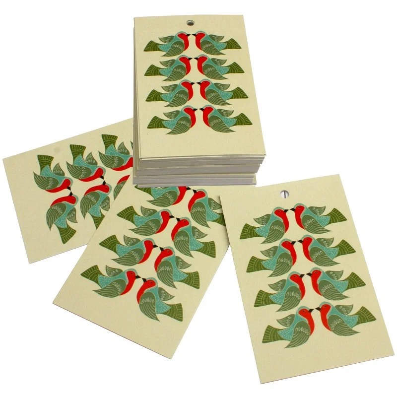 Re-wrapped: ECO Friendly Xmas Wrapping Paper Tags Christmas Folk Robins by Kate Heiss made from 100% Unbleached Recycled Paper