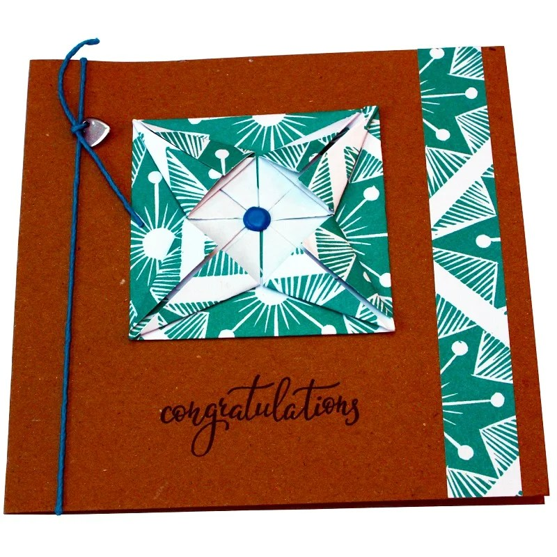 Re-wrapped: ECO Friendly Wrapping Paper Italian Terrazzo Congratulations Card made from 100% Unbleached Recycled Paper