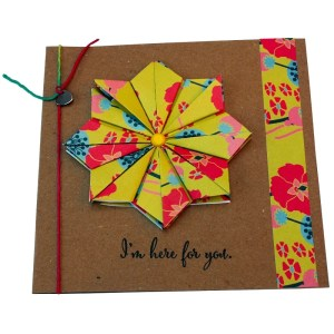 Re-wrapped: ECO Friendly Wrapping Paper Mustard Hollyhocks I'm here for You Card made from 100% Unbleached Recycled Paper