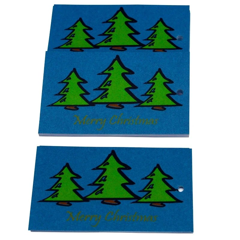 Re-wrapped: ECO Friendly Xmas Wrapping Paper Tags O Christmas Tree Blue by Tracy Umney made from 100% Unbleached Recycled Paper