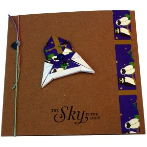 Re-wrapped: ECO Friendly Wrapping Paper Owls The Sky is the Limit Card made from 100% Unbleached Recycled Paper