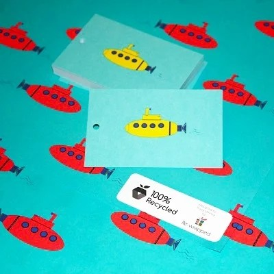 Re-wrapped: ECO Friendly Wrapping Paper Tags Childrens Submarines by Tracy Umney made from 100% Unbleached Recycled Paper
