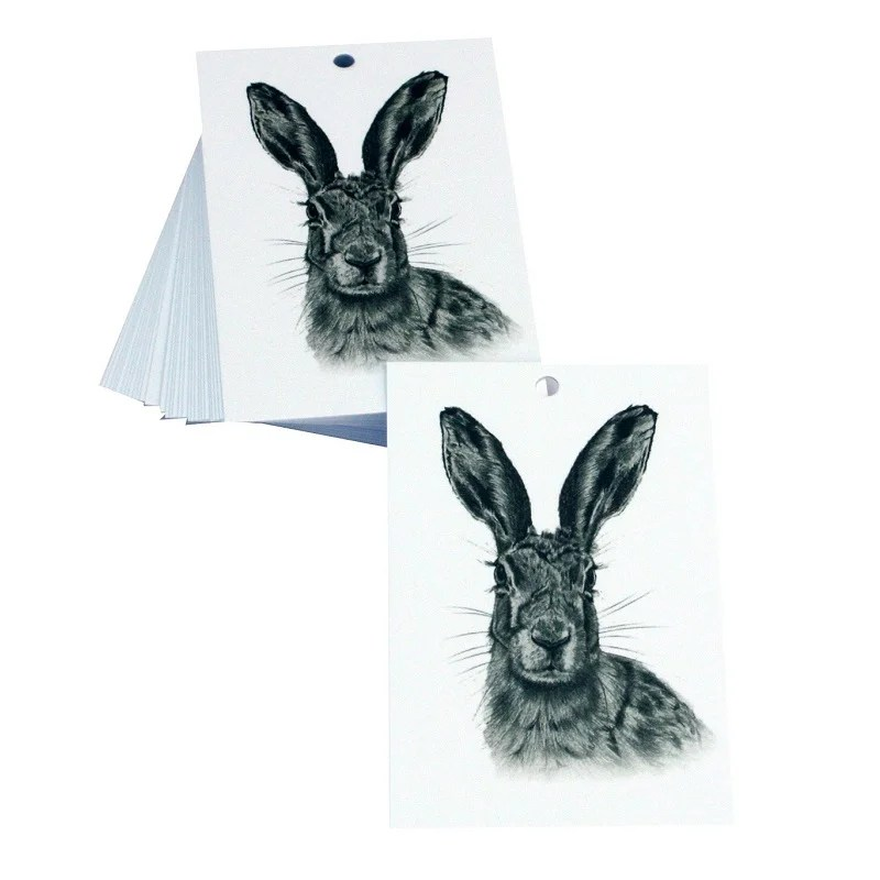 Re-wrapped: ECO Friendly Wrapping Paper Tags Black and White Hares by Sophie Botsford made from 100% Unbleached Recycled Paper