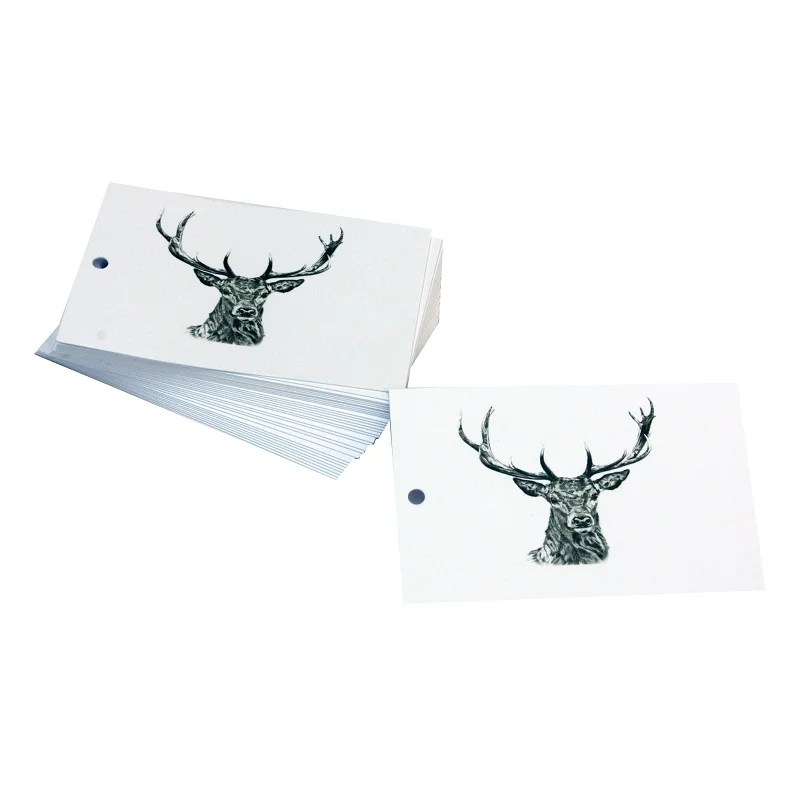 Re-wrapped: ECO Friendly Wrapping Paper Tags Black and White Stags by Sophie Botsford made from 100% Unbleached Recycled Paper