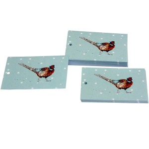 Re-wrapped: ECO Friendly Xmas Wrapping Paper Tags Christmas Pheasants by Sophie Botsford made from 100% Unbleached Recycled Paper