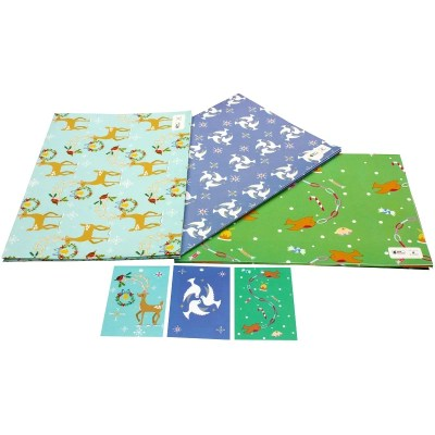 Re-wrapped: ECO Friendly Xmas Wrapping Paper Christmas Bird Bundle by Vicky Scott made from 100% Unbleached Recycled Paper