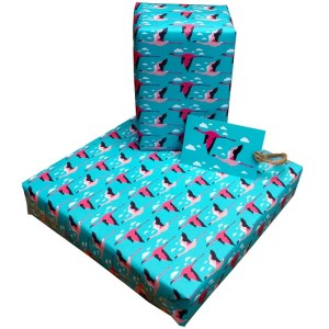 Re-wrapped: ECO Friendly Wrapping Paper Flamingos by Vicky Scott made from 100% Unbleached Recycled Paper