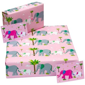 Re-wrapped: ECO Friendly Wrapping Paper Childrens Pink Elephant by Vicky Scott made from 100% Unbleached Recycled Paper