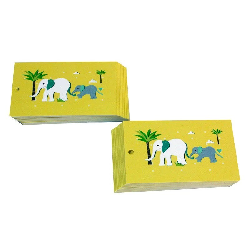 Re-wrapped: ECO Friendly Wrapping Paper Tags Childrens Yellow Elephants by Vicky Scott made from 100% Unbleached Recycled Paper