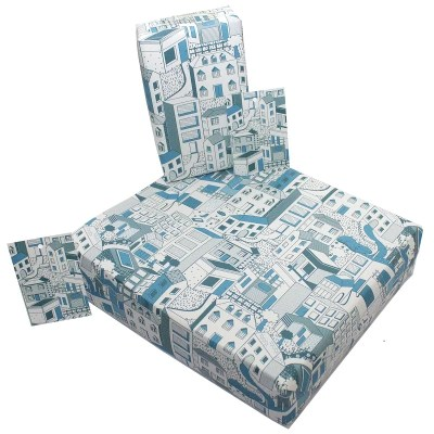 Re-wrapped: ECO Friendly Wrapping Paper Buildings by Rosie Parkinson made from 100% Unbleached Recycled Paper