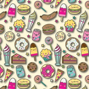 Re-wrapped: ECO Friendly Birthday Wrapping Paper Sweet Eats for Children by Rosie Parkinson made from 100% Unbleached Recycled Paper