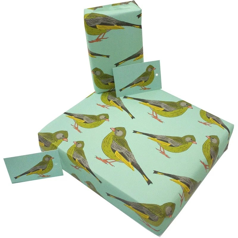 Re-wrapped: ECO Friendly Wrapping Paper Green Finches by Rosie Parkinson made from 100% Unbleached Recycled Paper