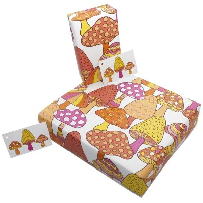 Re-wrapped: ECO Friendly Wrapping Paper Marvellous Mushrooms by Rosie Parkinson made from 100% Unbleached Recycled Paper