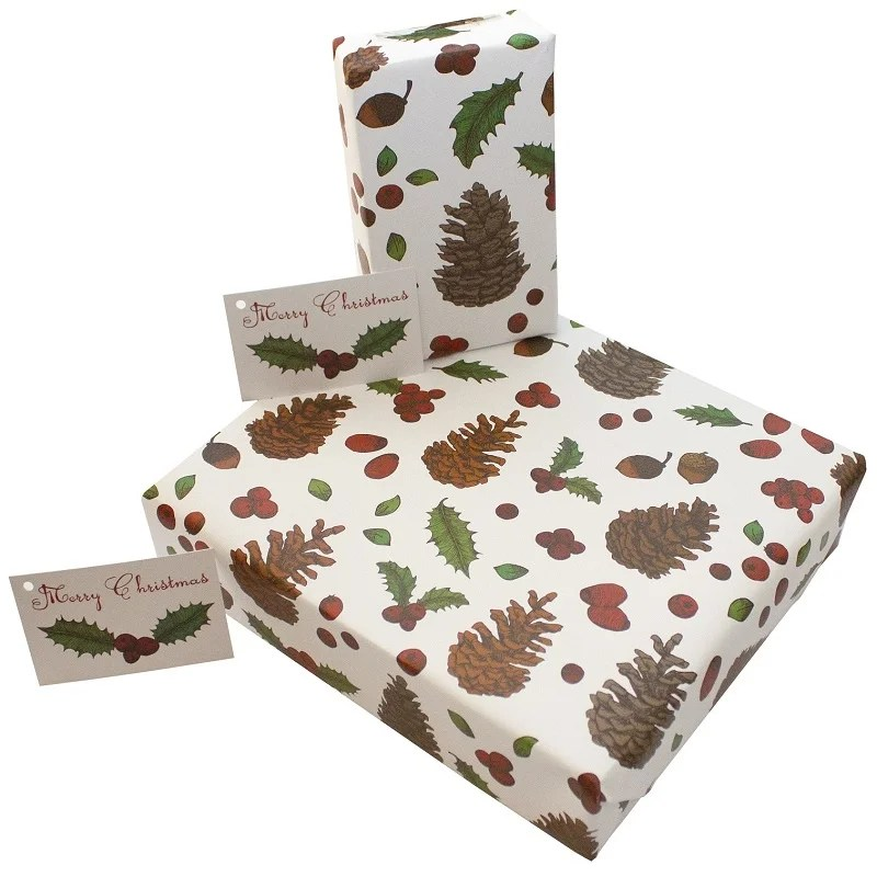 Re-wrapped: ECO Friendly Wrapping Paper Christmas Pine Cones by Rosie Parkinson made from 100% Unbleached Recycled Paper