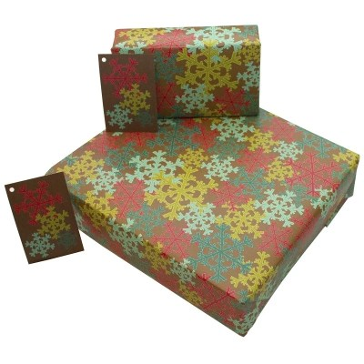 Re-wrapped: ECO Friendly Wrapping Paper Christmas Snowflakes by Rosie Parkinson made from 100% Unbleached Recycled Paper