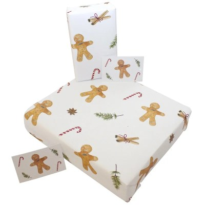 Re-wrapped: ECO Friendly Wrapping Paper Christmas Gingerbread Men by Sophie Botsford made from 100% Unbleached Recycled Paper