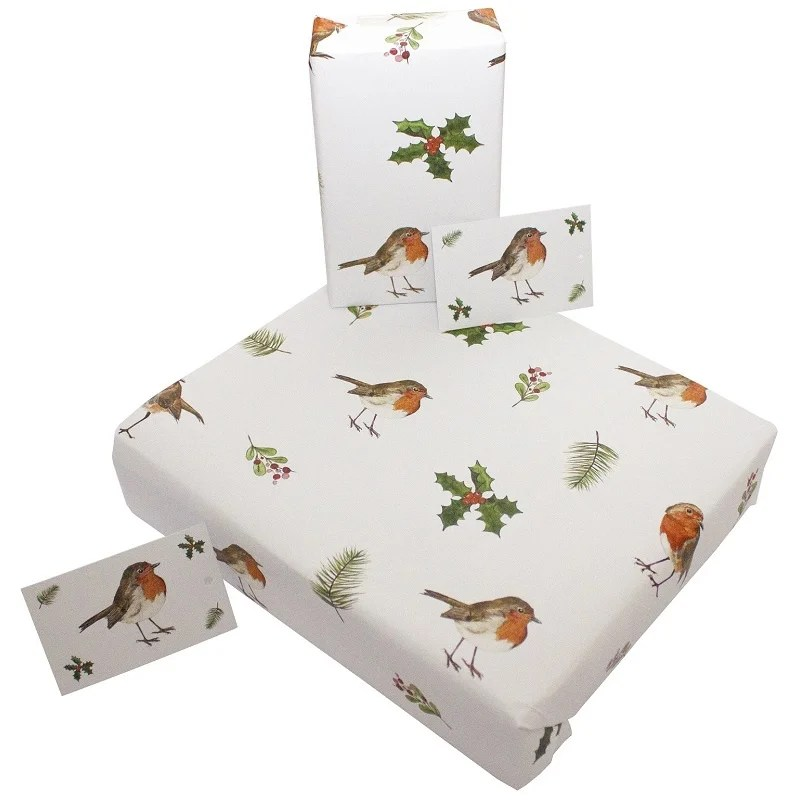 Re-wrapped: ECO Friendly Wrapping Paper Christmas Robins and Holly by Sophie Botsford made from 100% Unbleached Recycled Paper
