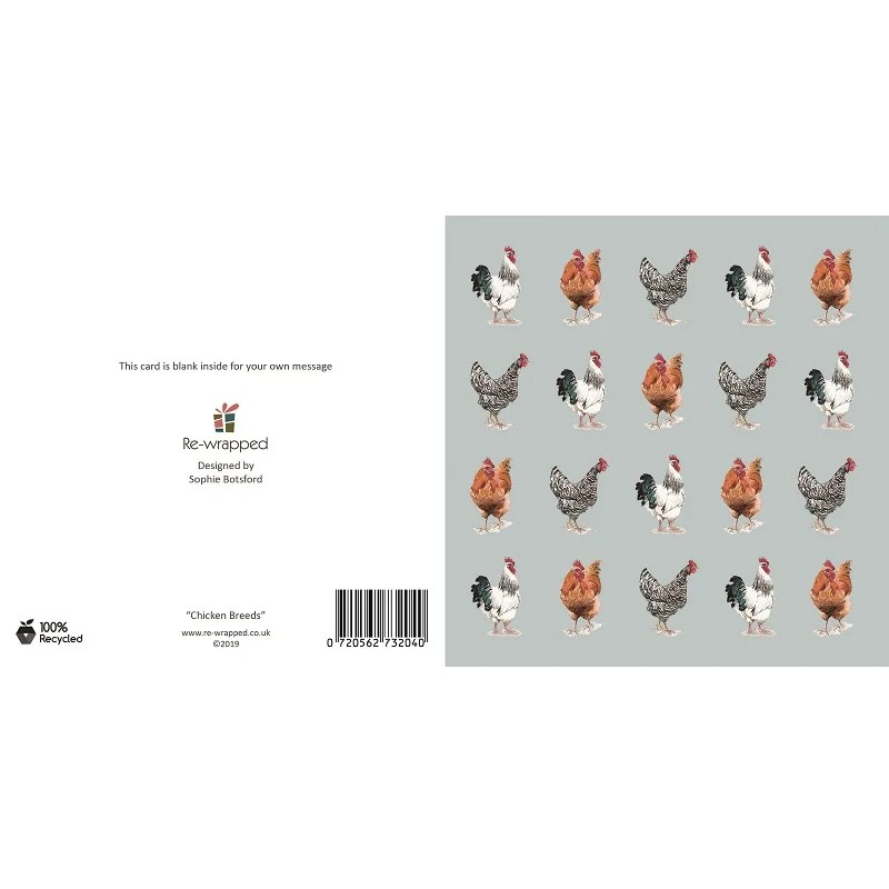 Re-wrapped: ECO Friendly Birthday Wrapping Paper Chicken Breeds Greetings Card by Sophie Botsford made from 100% Unbleached Recycled Paper