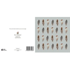 Re-wrapped: ECO Friendly Birthday Wrapping Paper Feathers Greetings Card by Sophie Botsford made from 100% Unbleached Recycled Paper