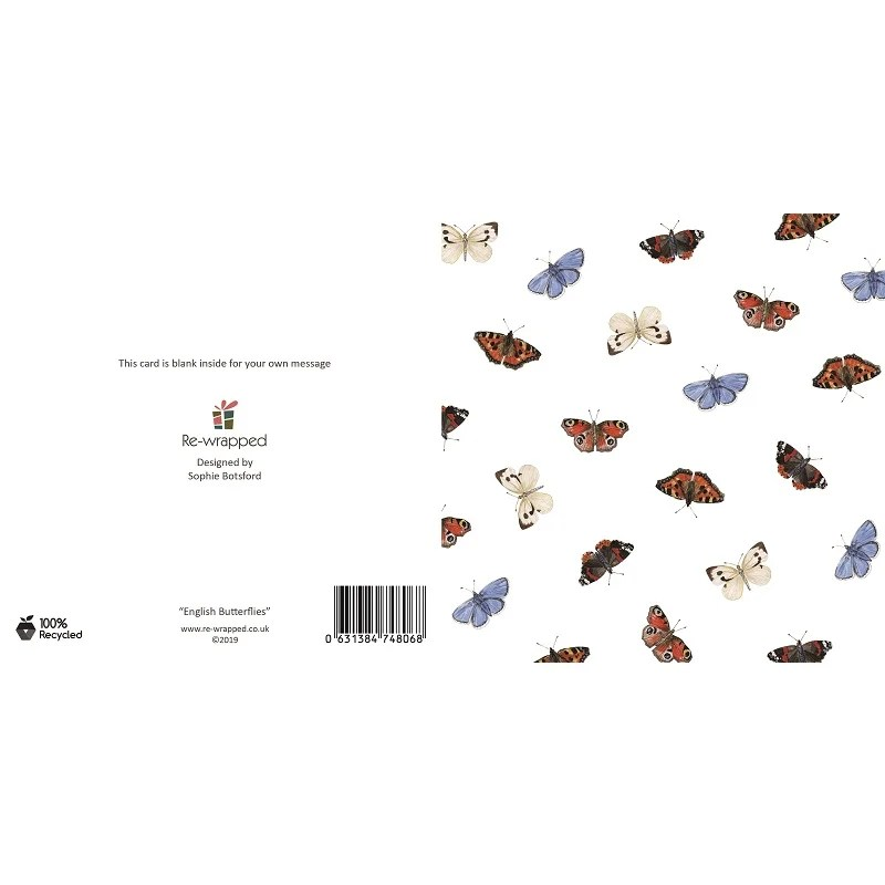 Re-wrapped: ECO Friendly Birthday Wrapping Paper English Butterflies Greetings Card by Sophie Botsford made from 100% Unbleached Recycled Paper